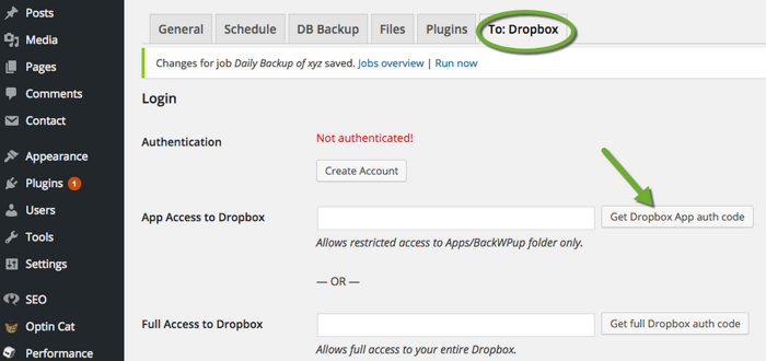 WordPress Dropbox Backup plugin
